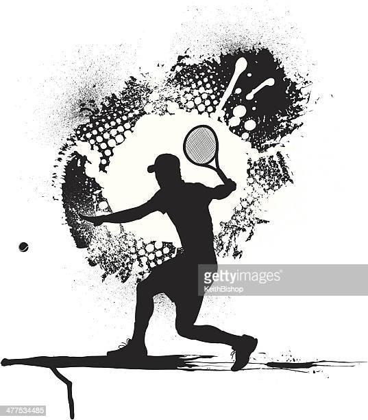 ilustraciones, imágenes clip art, dibujos animados e iconos de stock de jugador de tenis masculino, grunge gráfico - raqueta de tenis