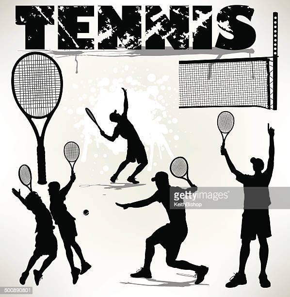 tennis player - racket, ball and net - traditional sport stock illustrations, clip art, cartoons, & icons