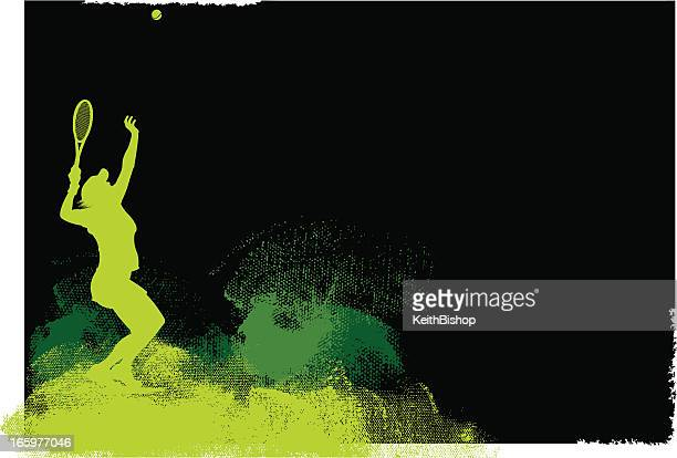tennis player serve background - female - traditional sport stock illustrations, clip art, cartoons, & icons