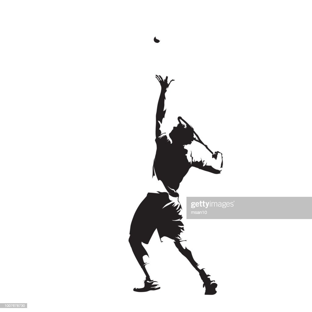 Tennis player serving ball, isolated vector silhouette, ink drawing. Individual summer sport. Active people