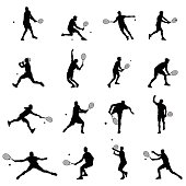 Tennis Player Set Of Sixteen Men Illustration Black Vector Silhouettes