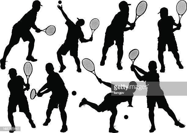 tennis player - sports organization stock illustrations, clip art, cartoons, & icons