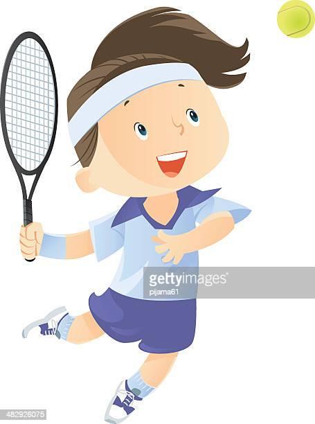 ilustraciones, imágenes clip art, dibujos animados e iconos de stock de jugador de tenis - raqueta de tenis