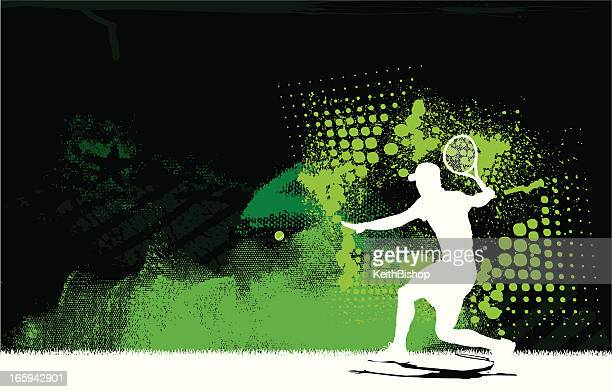 tennis player volley background - men - sport stock illustrations
