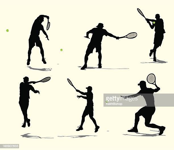 tennis player volley or rally - male - tennis stock illustrations