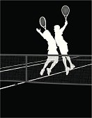 Tennis Players - Chest Bump Victory