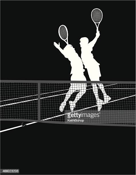 tennis players - chest bump victory - traditional sport stock illustrations, clip art, cartoons, & icons