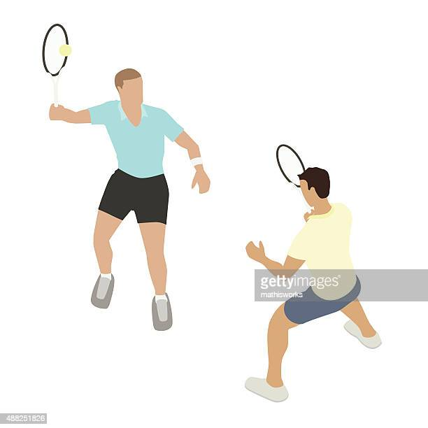 tennis players illustration - tennis stock illustrations