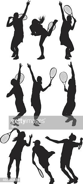 tennis players in action - sportsperson stock illustrations