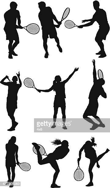 tennis players in action - tennis stock illustrations