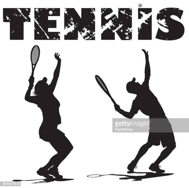 tennis players serving ball with typescript - tennis stock illustrations