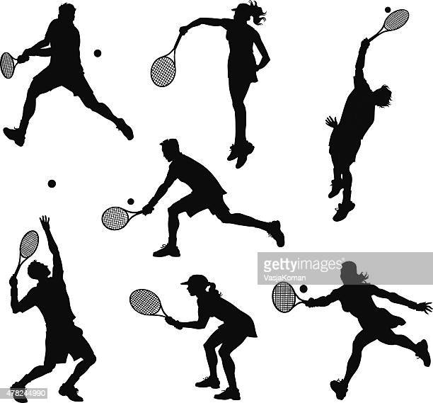 tennis players silhouettes - tennis stock illustrations