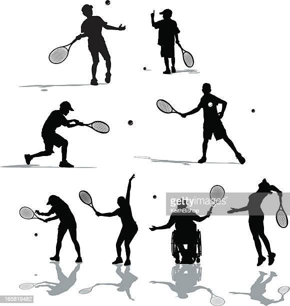 tennis player - match sport stock-grafiken, -clipart, -cartoons und -symbole