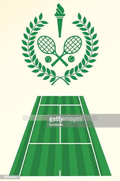 tennis poster and emblem - sport torch stock illustrations, clip art, cartoons, & icons