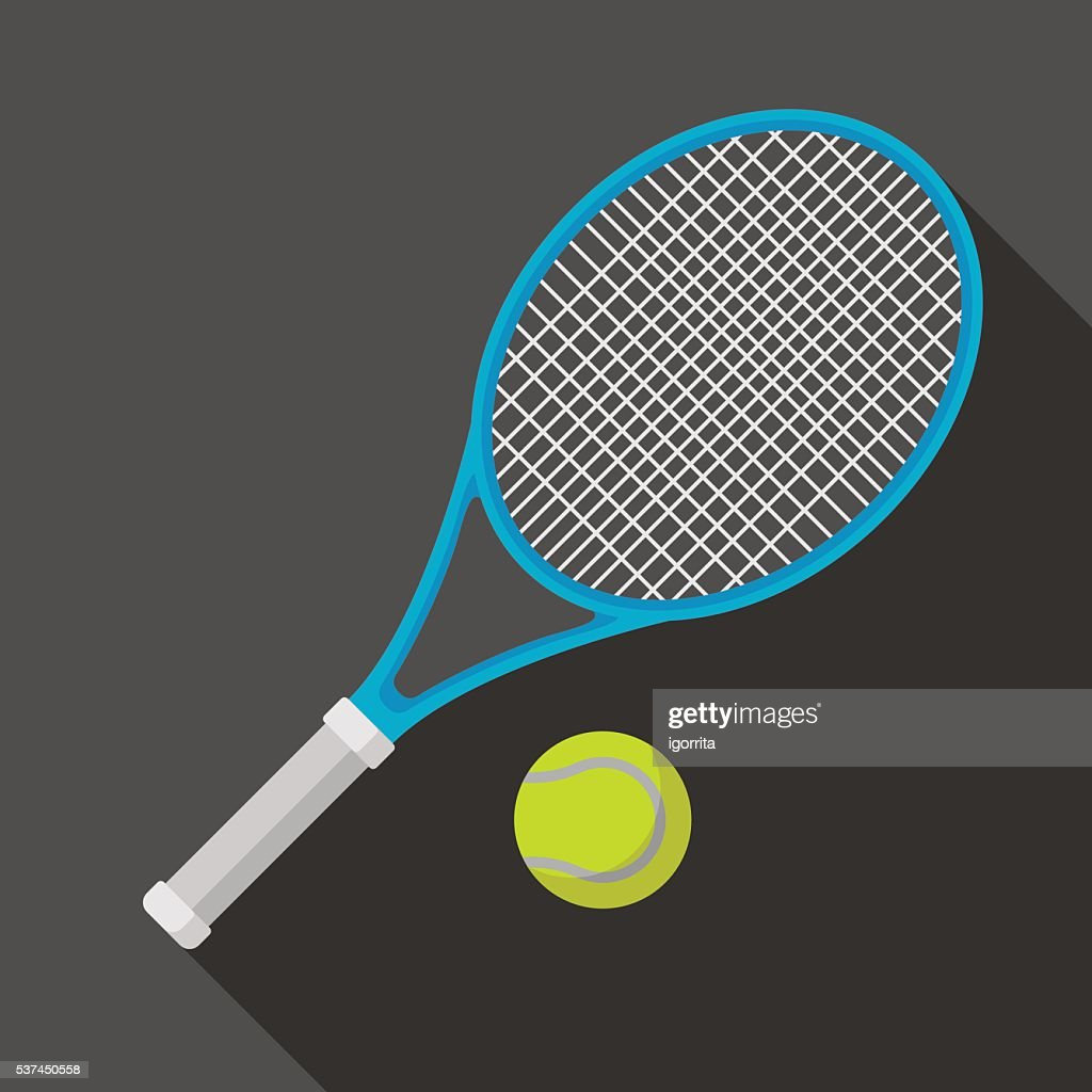 tennis racket and ball icon with long shadow