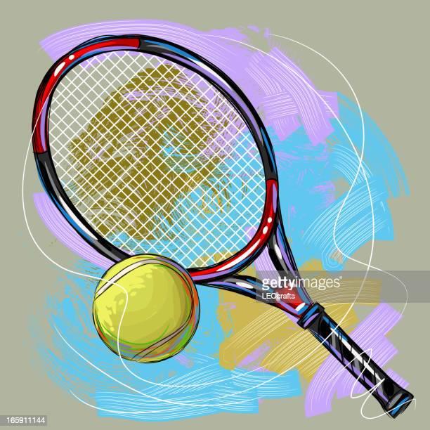 ilustraciones, imágenes clip art, dibujos animados e iconos de stock de raqueta de tenis y pelotas - raqueta de tenis