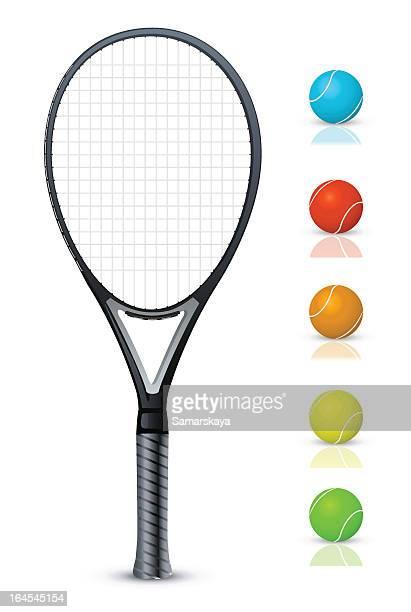 Tennisschläger und Bälle Farbe