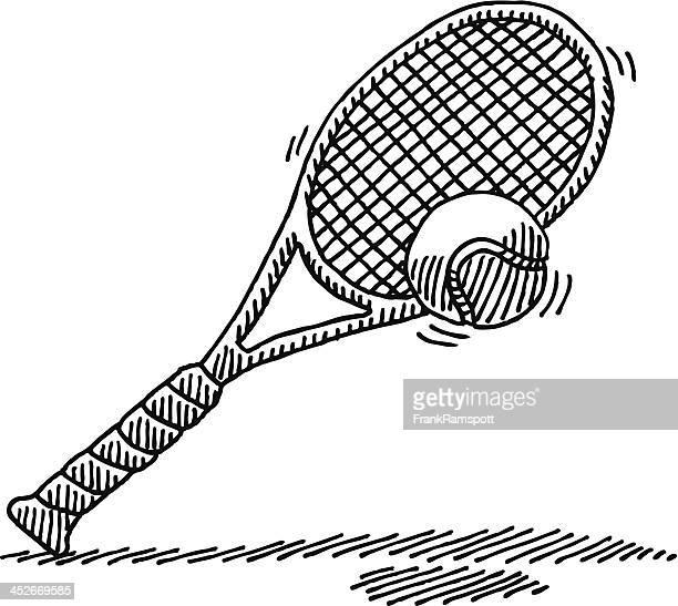 Tennis-Schläger und Ball-Zeichnung