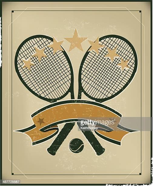 tennis racket banner background - retro - tennis racket stock illustrations