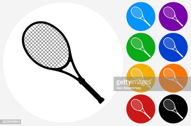 Tennis Racket Icon on Flat Color Circle Buttons