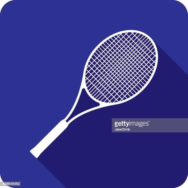 ilustraciones, imágenes clip art, dibujos animados e iconos de stock de silueta de icono de raqueta de tenis - raqueta de tenis