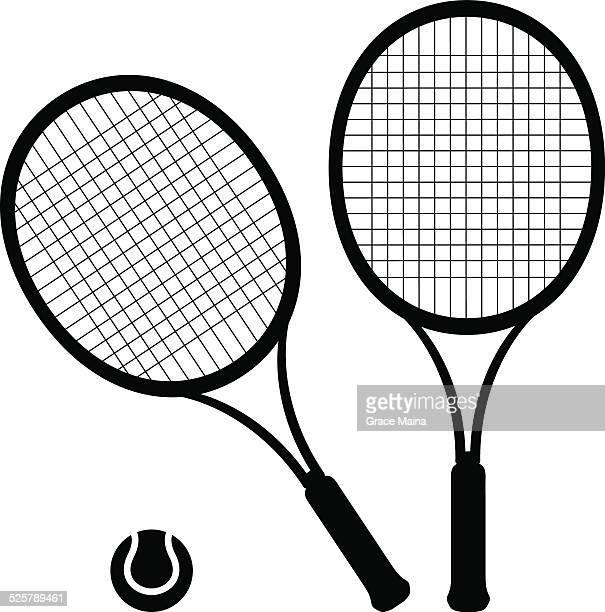 ilustraciones, imágenes clip art, dibujos animados e iconos de stock de hay raquetas y pelotas de tenis-vector - raqueta de tenis