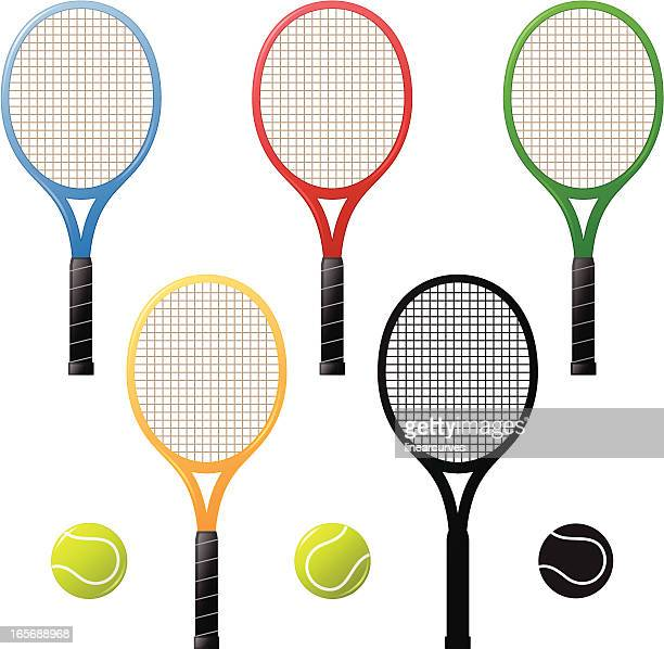 tennis rackets and tennis-balls - tennis ball stock illustrations