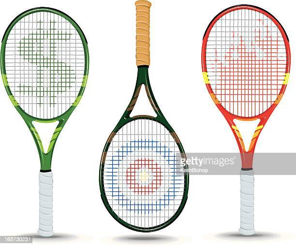 ilustraciones, imágenes clip art, dibujos animados e iconos de stock de raquetas de tenis de dólar, objetivo, llama - raqueta de tenis