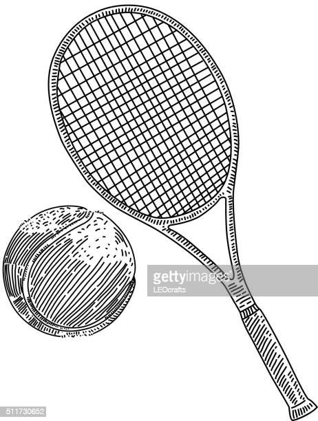 tennis racquet and ball drawing - tennis stock illustrations