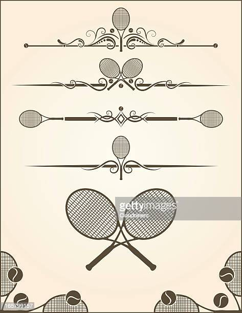 ilustraciones, imágenes clip art, dibujos animados e iconos de stock de elementos de raqueta de tenis - raqueta de tenis