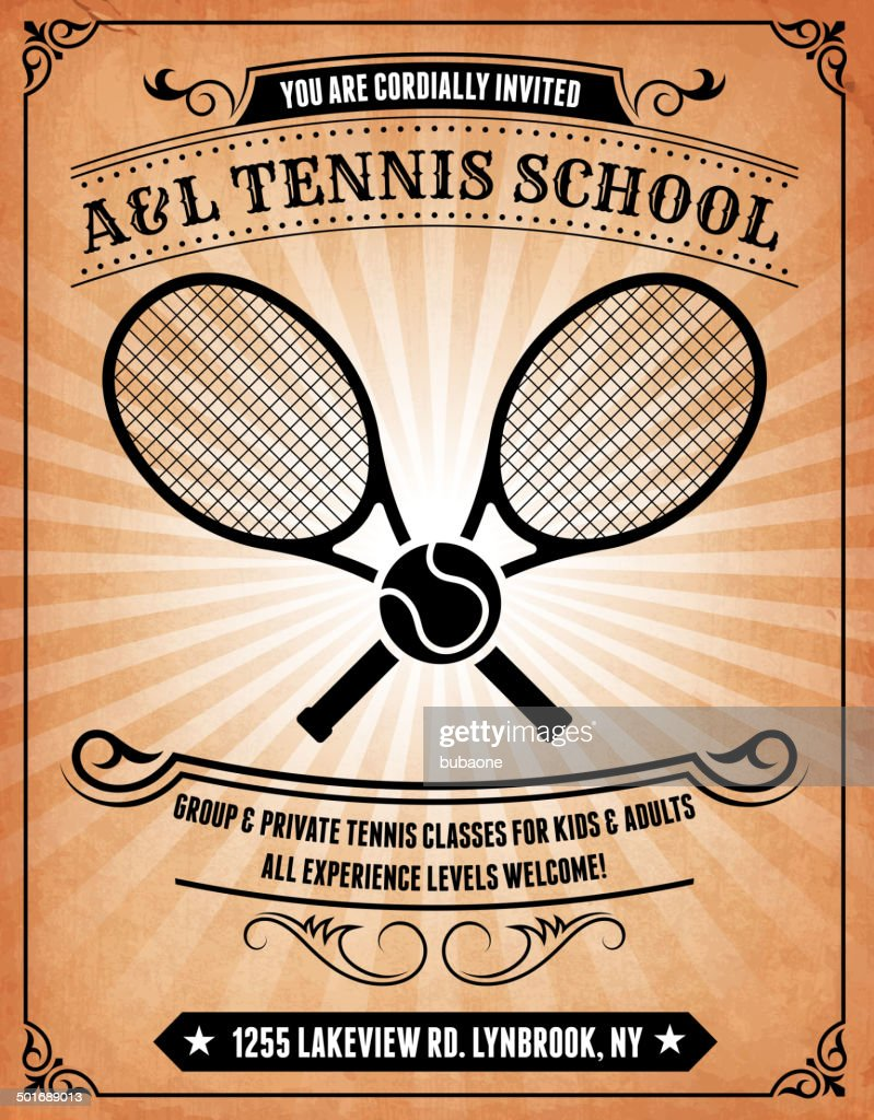 Tennis school on royalty free vector Background Poster