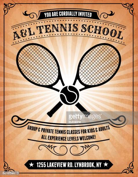 tennis school on royalty free vector background poster - tennis racket stock illustrations