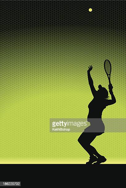 tennis serve background - female - traditional sport stock illustrations, clip art, cartoons, & icons