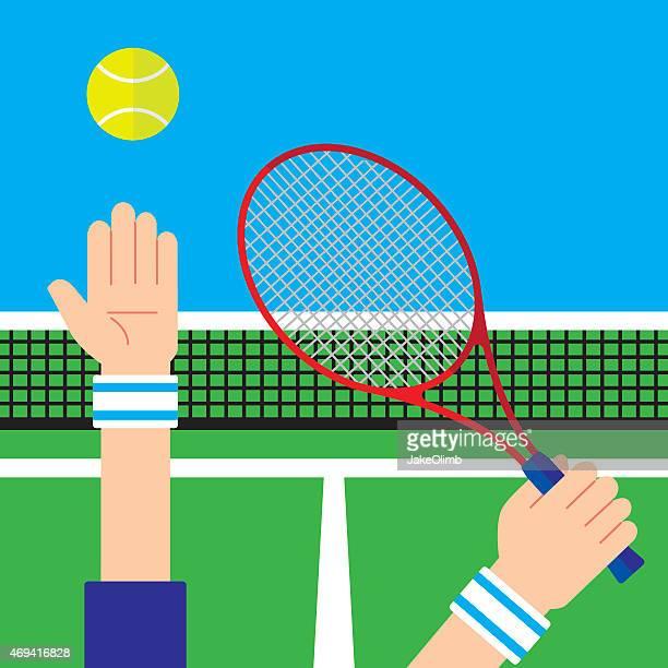 ilustraciones, imágenes clip art, dibujos animados e iconos de stock de saque de tenis - mano humana