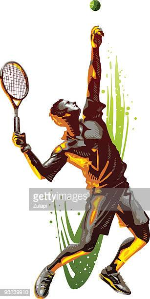 tennis serve - tennis stock illustrations