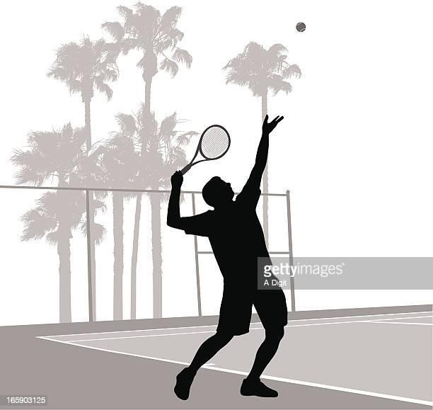 tennis serve vector silhouette - tennis stock illustrations