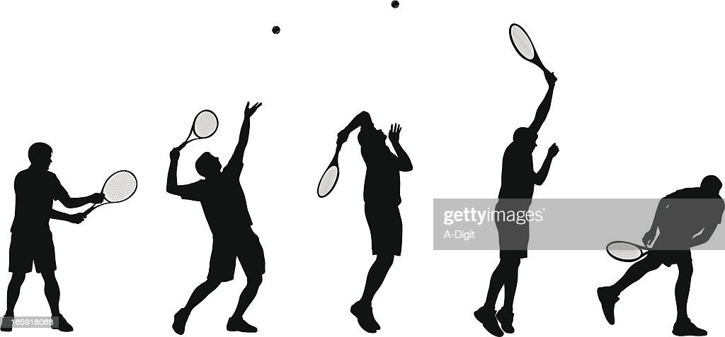 Tennis Serve Vector Silhouette