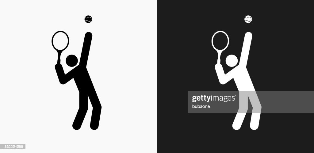 Tennis Server Icon On Black And White Vector Backgrounds
