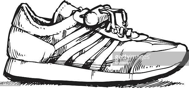 ilustraciones, imágenes clip art, dibujos animados e iconos de stock de zapato de tenis - zapatillas de deporte