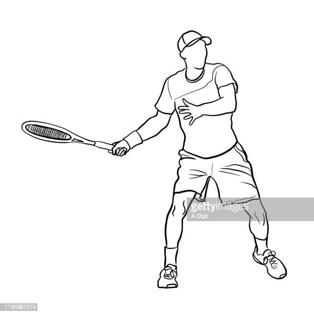 ilustraciones, imágenes clip art, dibujos animados e iconos de stock de tenis smash serve - raqueta de tenis