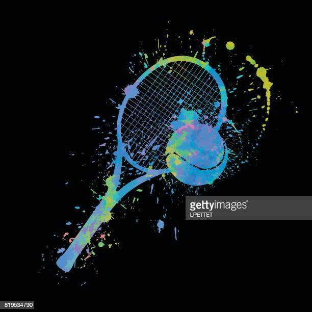 ilustraciones, imágenes clip art, dibujos animados e iconos de stock de tenis splat - raqueta de tenis