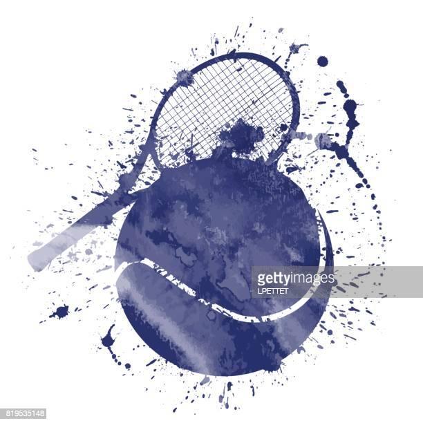 illustrazioni stock, clip art, cartoni animati e icone di tendenza di tennis splat - pallina da tennis