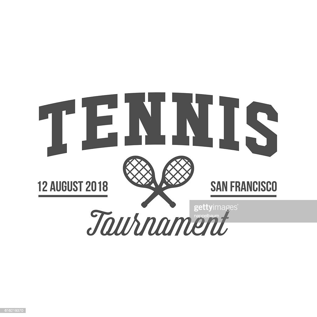 Tennis sports logo, label, emblem, design elements : Arte vettoriale
