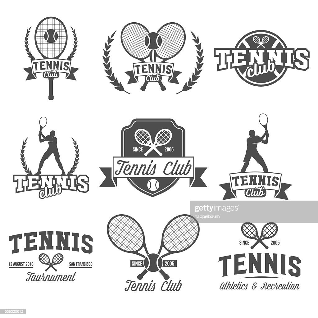 Tennis sports logo, label, emblem, design elements