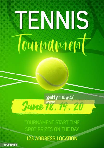 illustrazioni stock, clip art, cartoni animati e icone di tendenza di poster del torneo di tennis - pallina da tennis