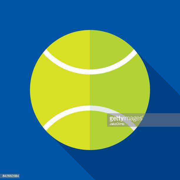 tennisball icon flat - tennis ball stock illustrations
