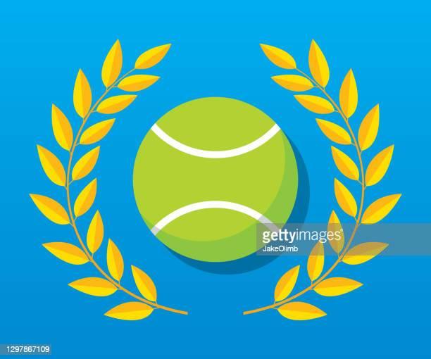 tennisball laurel icon flat - tennis tournament stock illustrations