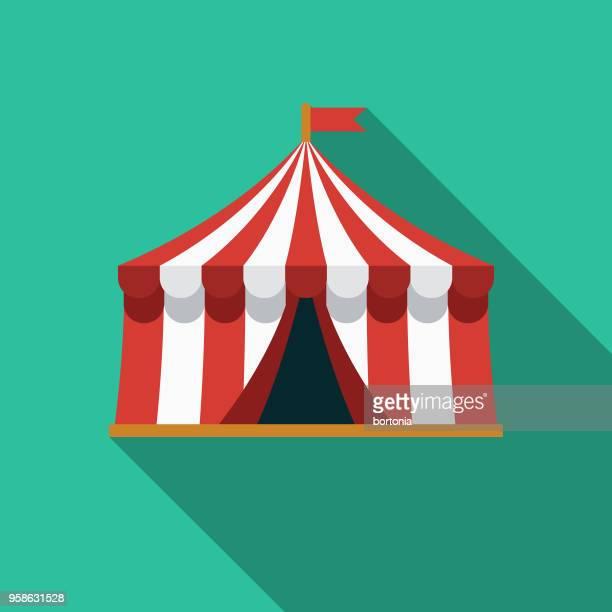 illustrations, cliparts, dessins animés et icônes de tente design plat arts icône avec côté ombre - chapiteau de cirque