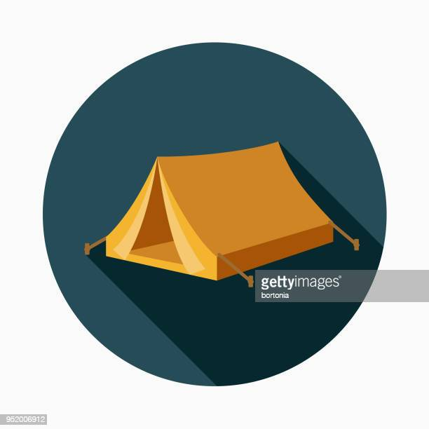 tent flat design western icon - tent stock illustrations, clip art, cartoons, & icons