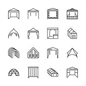Tent flat line icons. Event pavilion, trade show awning, outdoor wedding marquee, canopy vector illustrations. Thin signs of mobile party booth. Pixel perfect 64x64. Editable Strokes